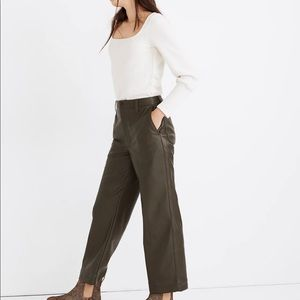 Madewell vegan pants+Green faux leather + cropped